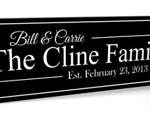 Personalized Family Name Sign Plaque Established Family Sign 7x20 Carved Engraved Wall Sign wedding or anniversary gift