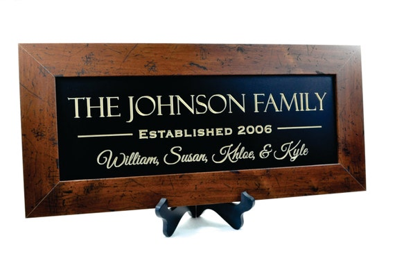 Personalized Family Name Sign Plaque Established Framed Family Sign 10x22 Carved Engraved Framed Wall Sign