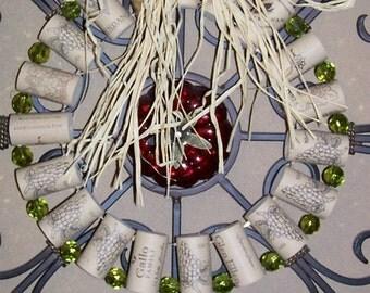 Wreath, Wine Corks, Green Glass Beads