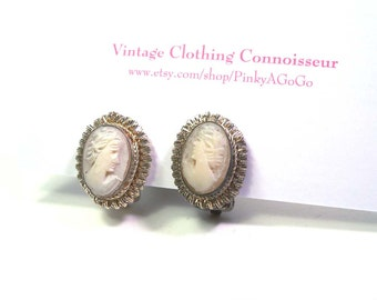 Antique Italian Classic Carved Pink Shell Cameo Earrings Set in Ornate Silver Bezel