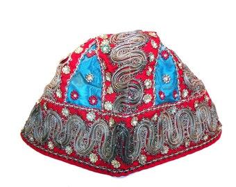 Antique 1893 Victorian Holland Dutch Cap Folk Hat with Beads, Metallic Trim, Flowers, etc
