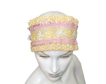 Antique 1920s Flapper Boudoir Bandeau Band Cream Lace with Silk Trim bedroom hat