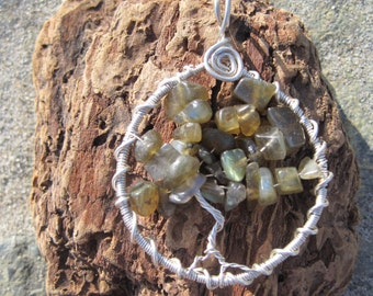 Labradorite and Sterling Silver Wire Wrapped Tree of Life Pendent