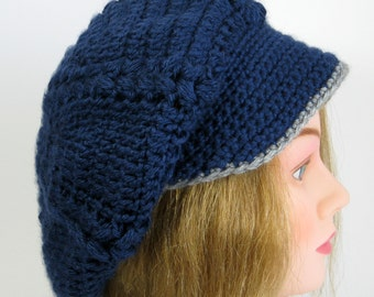 Hipster Slouchy Hat  Blue with Grey Trim Ready to Ship
