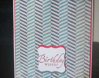 A Red, blue and grey Striped Masculine Happy Birthday Card