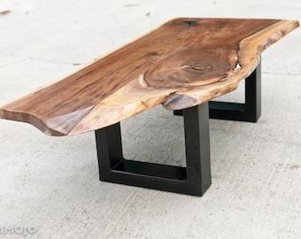 Live Edge Walnut Coffee Table with Steel Base