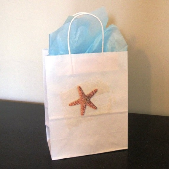 Beach Wedding Gift Bag Ideas: Items Similar To 3 Starfish Gift Bags