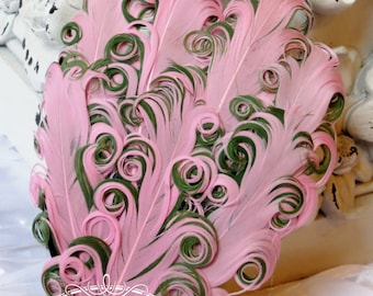 Two Tones Pink/ Olive Green (023) Nagorie Feather Pad - Feather Pad - Curly Feathers - Goose Feather Pad