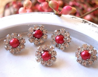 10 pieces - 11mm Mini Crystal RED Pearl Rhinestone Buttons - wedding / hair / dress / garment accessories Flower Center