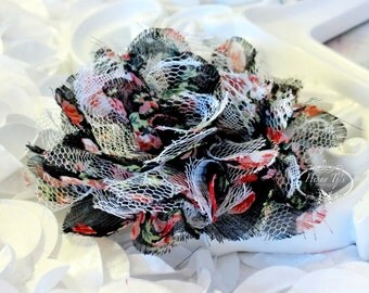 "NEW : 2 pieces 3.5"" Shabby Chic Frayed Chiffon Mesh and Lace Rose Fabric Flower - Black fabric w/ Floral patterned w/ white lace"