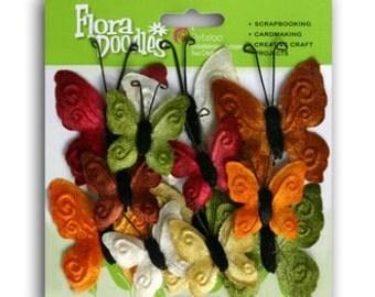 20% OFF: 2 packs Petaloo Velvet Butterflies - EARTH TONES color assortment embellishments