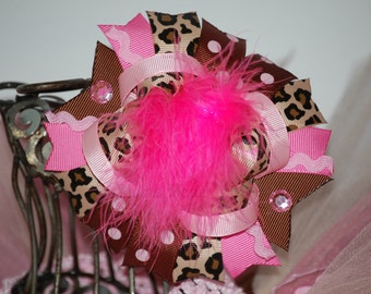 Pink and Brown Leopard Bow with Marabou, girls Leopard bow, cheetah hairbow,cheetah bow,animal print bow,pink cheetah bow,boutique bow