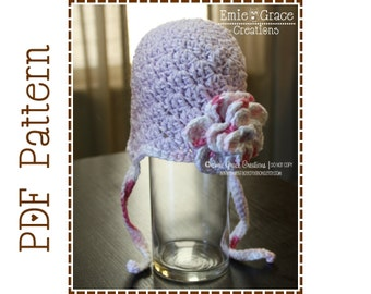 Flower Hat Crochet Pattern, 8 Sizes from Newborn to Adult, AUDREY - pdf 224