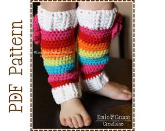 Leg Warmers Crochet Pattern, Rainbow Stripes or Solid Color, BASIC - pdf 703