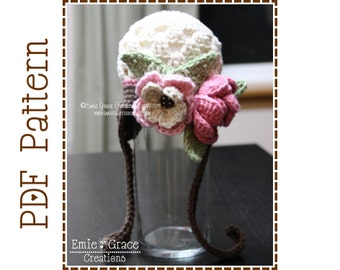 Crochet Flower Hat Pattern, Girls Cluster Ear Flap, BROOKE - pdf 201