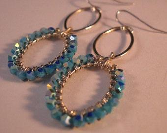 Silver Hoop Crystal Earrings, silver earrings, crystal earrings, hoop earrings, wrapped earrings, swarovski crystal earrings, drop earrings
