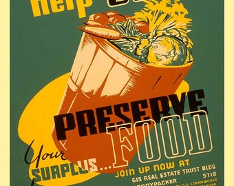 "New Giclee Reproduction Vintage WPA  Poster  ""Preserve Foods"" 11x14"