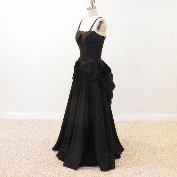 40s Evening Gown 1940s Black Taffeta Lace Party Dress