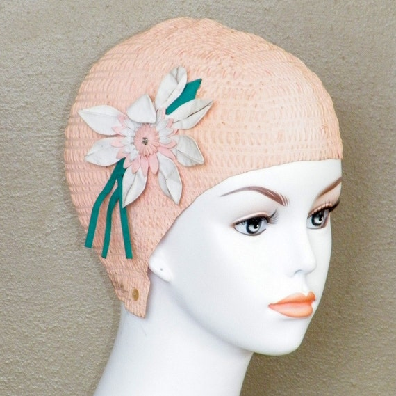 1950s 60s Swim Cap Pink Flower Applique Bathing Cap Vintage