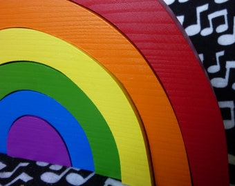 Rainbow Stacker - Handpainted Wood Toy