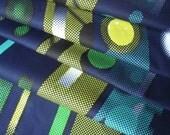 Dutch Wax Block Print African Fabric Blue and Yellow Circles on Stripes VLA1421 HALF YARD (45cm)