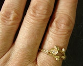 14K Solid Gold Wild Blueberry Branch & Bud Diamond Engagement Ring