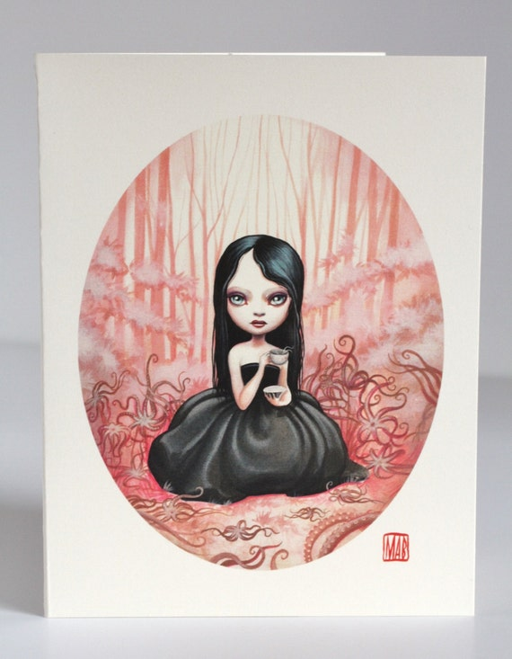 Last One - SALE - 30% Off - It's Tentacle Tea Time - Jude in the Octopus Garden -3 blank notecards- by Mab Graves