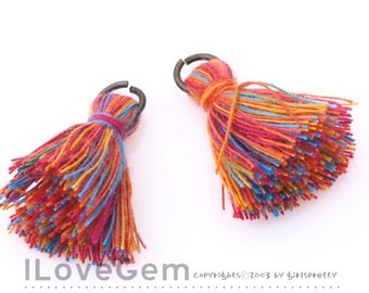 TA-029 Tassel, Multi Rainbow, B Color(Cotton), 23mm, 2pcs