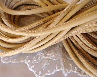 Beige Eco Nappa Leather Cord, Faux Leather 5mm Cord, Stitched Cord, Sold in 1 Yard/  92cm approx.(1 piece)