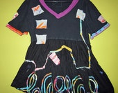 Sassy Black and Bright short sleeve Cotton artist top fits sm med
