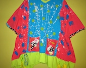 Colorful hand Painted Artist inspired tunic fits thru 5x