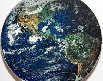 Hand Cut Wooden NASA Earth from Space Jigsaw Puzzle (55 pieces) with Plywood Storage Box --  FREE US Shipping