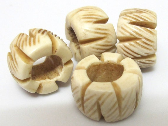 2 Beads-Carved wide donut ring shape bone beads - BD263