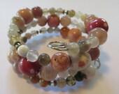 Memory Wire Bracelet, Kazuri Bead Bangle, Semi Precious Stones - lizbriggsdesigns