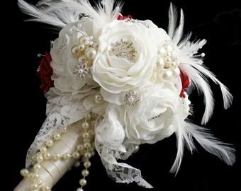 Brooch Bouquet - Jeweled Bouquet - Feather Bouquet - Rhinestone Brooch Bouquet - Pearl Bouquet - Bridal Bouquet - Wedding Broach Bouquet