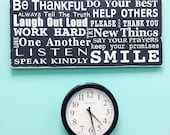 NEW Family Rules Sign - Be Thankful - Typography Word Art in Landscape