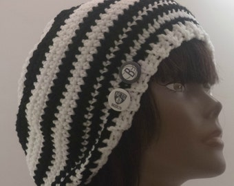 I Love New York  Brooklyn Nets  OOAK Womens Mens Crochet Slouch Hat Gift Under 50 dollars