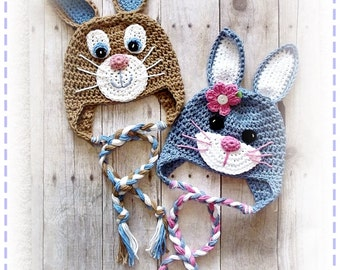 Cute Crochet Rabbit Bunny Beanie Earflap Hat PDF Pattern Sizes Newborn to Adult Boutique Design - No. 59 by AngelsChest