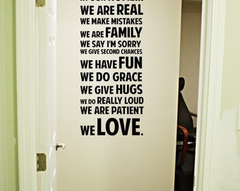 In our home we are real patient love Vinyl Decal 22x50 Vinyl Decal Home Decor Door Wall Lettering Words Quotes