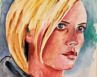 Charlize Theron Portrait - Actress Model - Original Watercolor Painting 8x10
