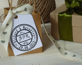 Custom Vintage Style  Franking Wedding Olive Wood Stamp