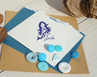 Custom  Little Mermaid Olive Wood Stamp