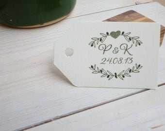 Custom Olive and Small Solid Heart Adorned Olive Wood Stamp