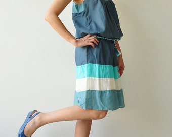 Rain Bow ...Blue Tone Cotton dress