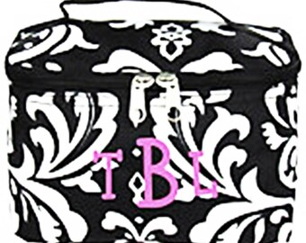 CLOSEOUT monogrammed  bag, cosmetic bag, personalized travel bag, damask print case