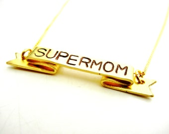 SuperMom Mothers Day Necklace Banner Mom Gold Personalized Customizable