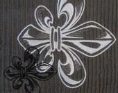 Engraved Fleur de Lis - Whim - Wave (Pewter) - Cotton 20x30 Designer Kitchen Hand Towel