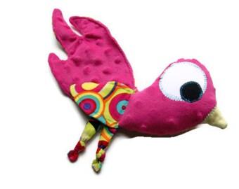 Security Blanket Lovie, Bird Lovey, Baby Girl Soft Toy, Woobie, Hot Pink Dot Minky Luvie, Baby Shower Gift READY TO SHIP