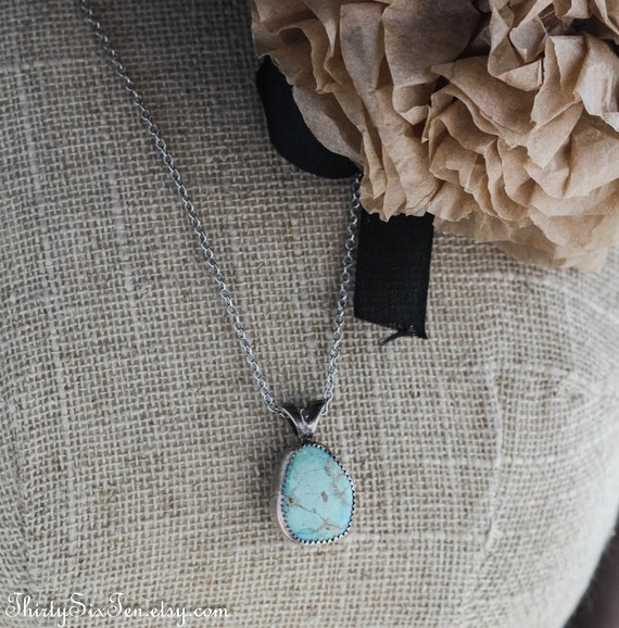 Teardrop Turquoise and Sterling Silver Necklace