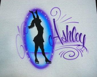 Airbrush Ice Skater T-Shirt w/ Name size S M L 2X  Airbrushed Skate Shirt